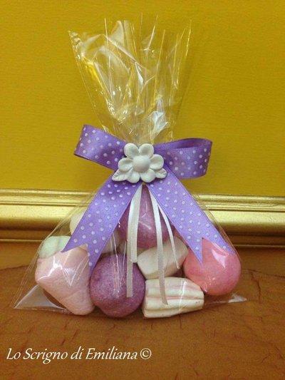 Bustina marshmallow con gessetto profumato bomboniera