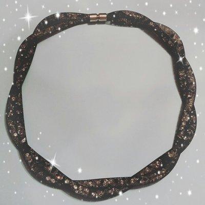 Collana rete tubolare stile Stardust torchon 2 fili