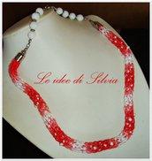 Collana degradè rossa e bianca