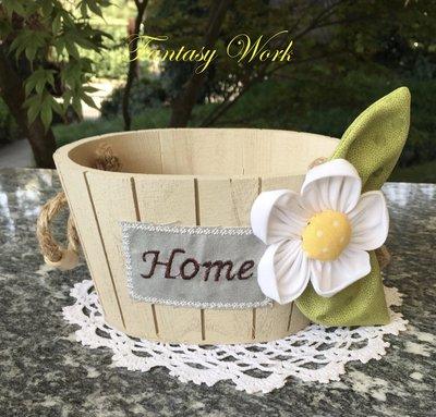 """mastello di legno porta tutto con margherita e scritta """"home"""""""