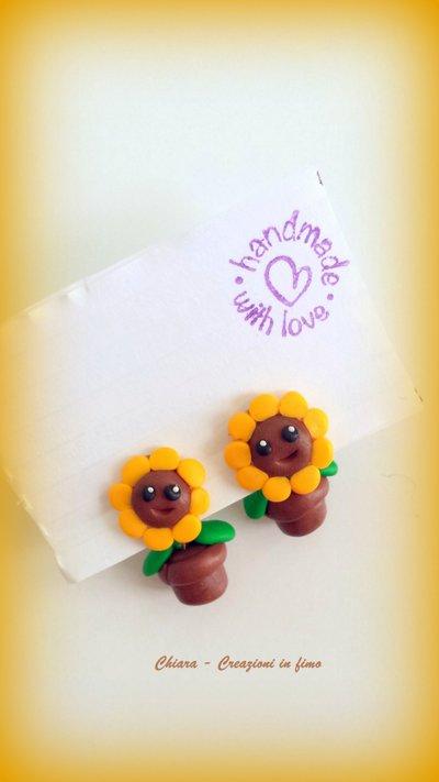 Orecchini da lobo in fimo handmade Girasoli miniature idee regalo amica compleanno