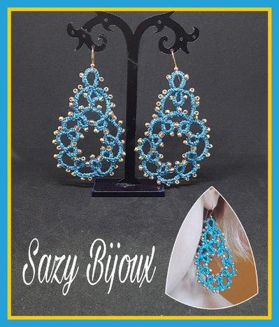 Orecchini CAER al chiaccherino in flato gioiello turchese e micro-perle