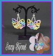 Orecchini MARIPOSA al chiaccherino in flato multicolor e micro-perle