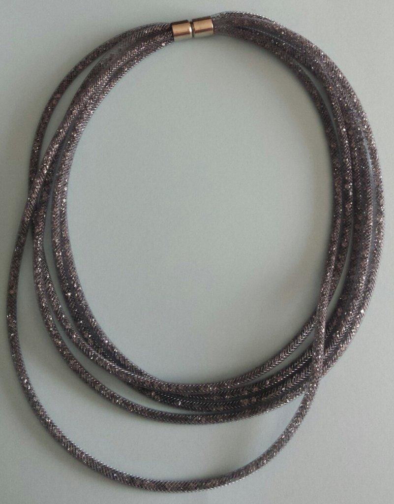 Collana rete tubolare stile Stardust 5 fili grigio