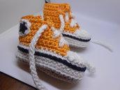 Scarpine sportive , sneakers in cotone arancio e bianco,  idea regalo.