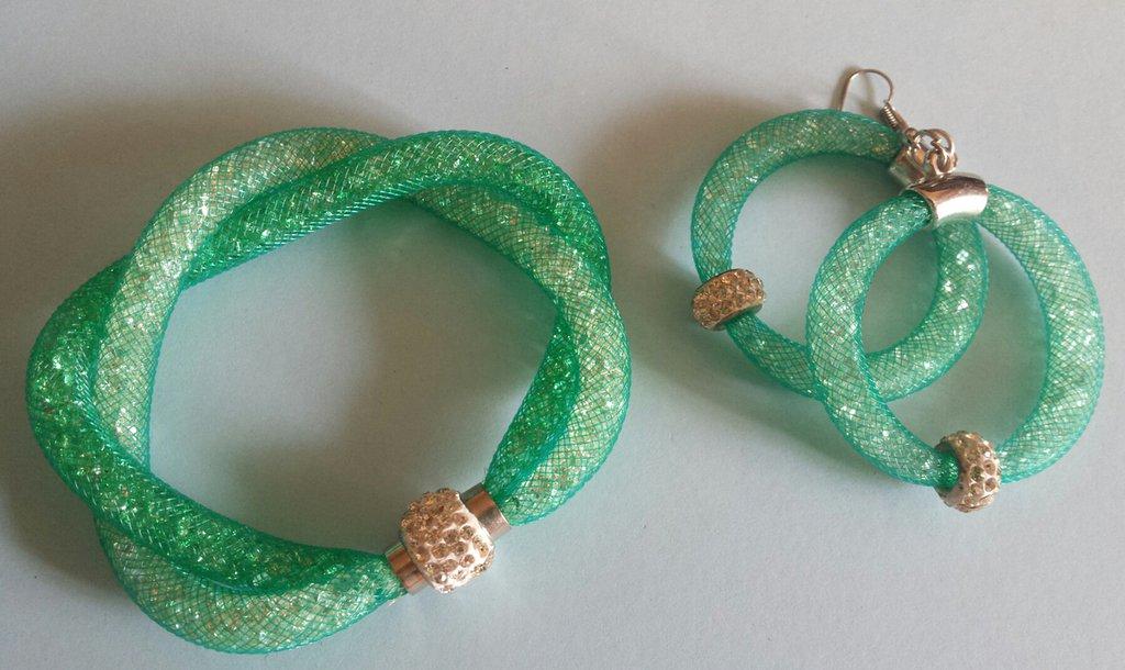 Bracciale stardust verde tiffany con orecchini abbinati