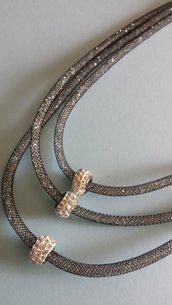 Collana stile Stardust 3 fili sottili color argento con strass