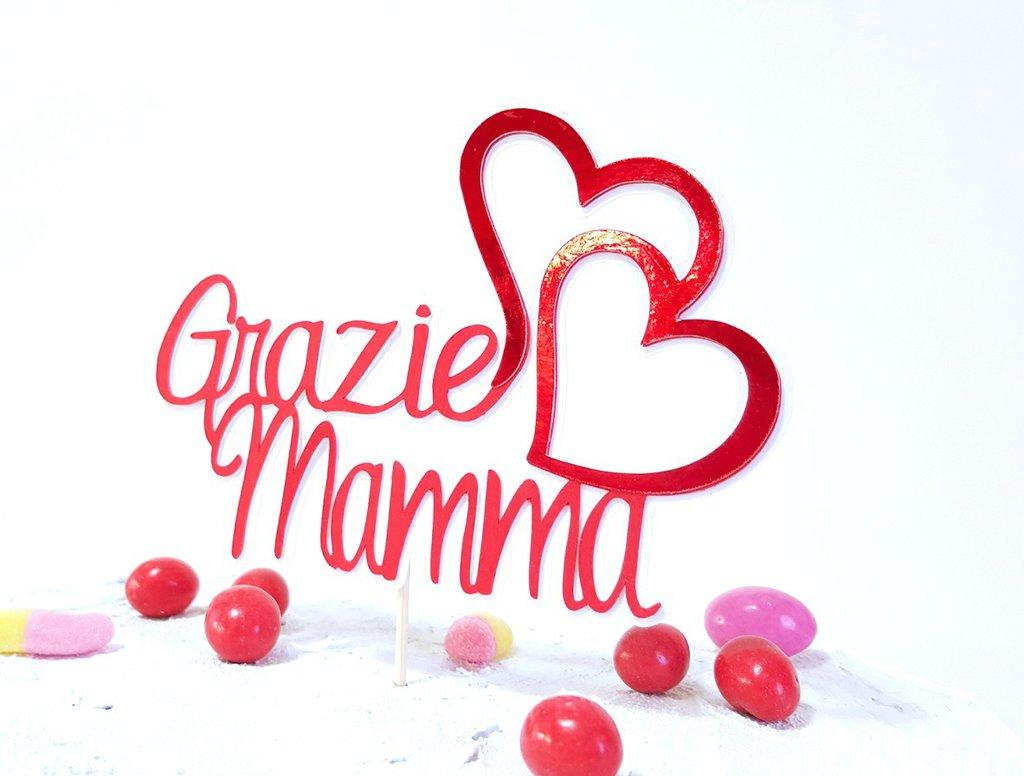 Festa della mamma cake topper // grazie mamma in rosso specchio