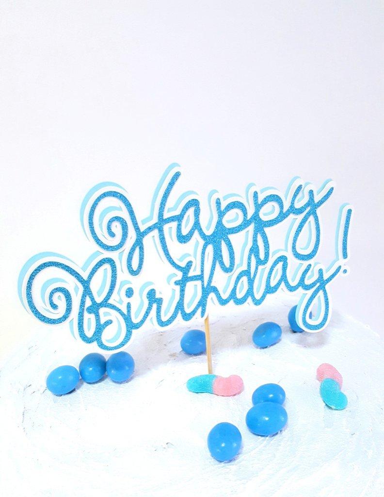 Happy birthday cake topper // cake topper glitterato colori a scelta personalozzato