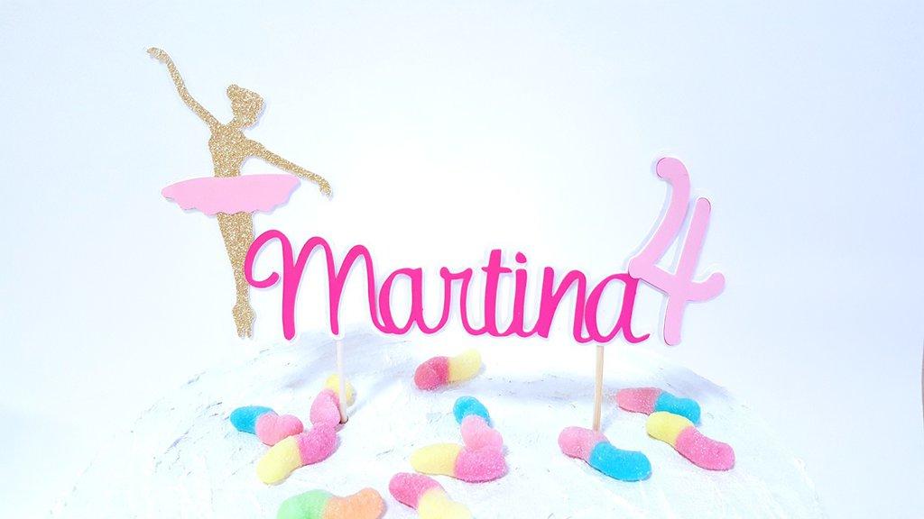 Cake topper ballerina con nome e anni // cake topper in rosa e oro glitterato personalizzabile
