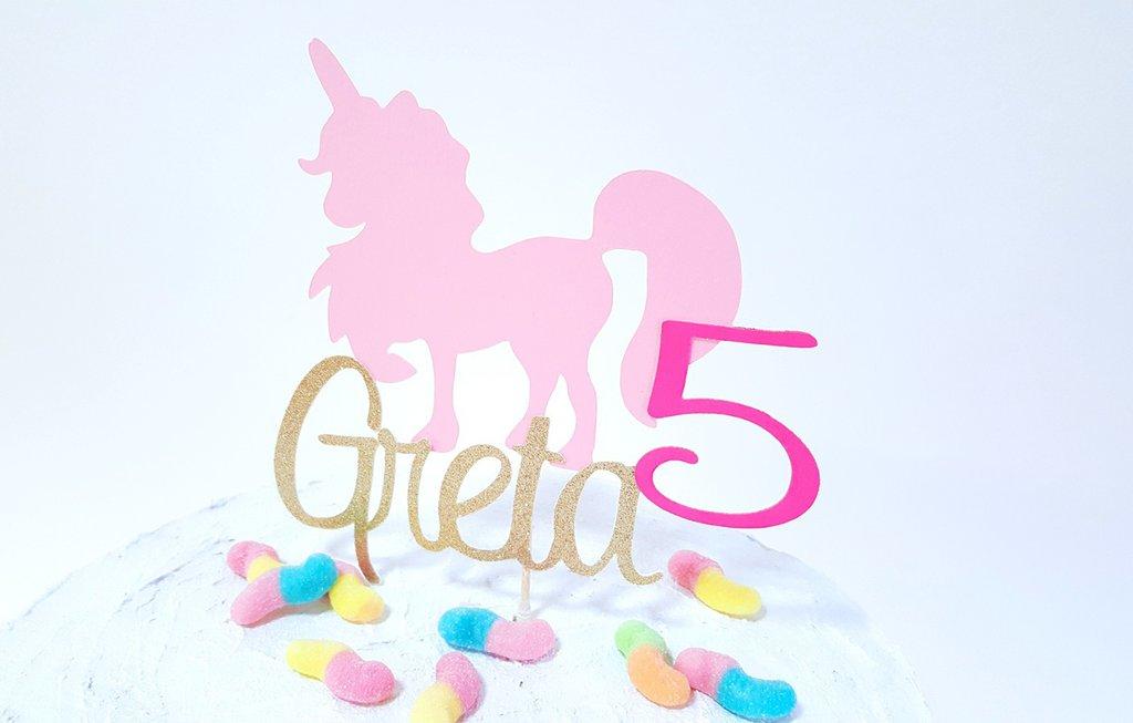 Unicorno compleanno cake topper // unicorno rosa con nome e anni personalizzabile