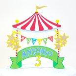 Cake topper circo buon compleanno // festa di compleanno tema circo // colori arcobaleno personalizzabile