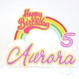 Cake topper arcobaleno buon compleanno //scena arcobaleno Mio miny pony torta di compleanno