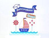 Cake topper marinaio buon compleanno // cake topper tema Marino personalizzato // dettagli salvagente timone berretto barca a vela