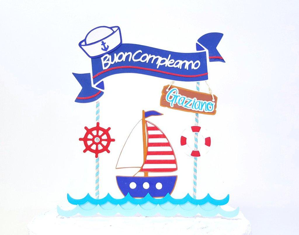 Cake topper marinaio buon compleanno // cake topper tema ...