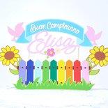 Cake topper giardino arcobaleno buon compleanno // cake topper personalizzato fiori e staccionata multicolor // Rainbow primavera nome personalizzato