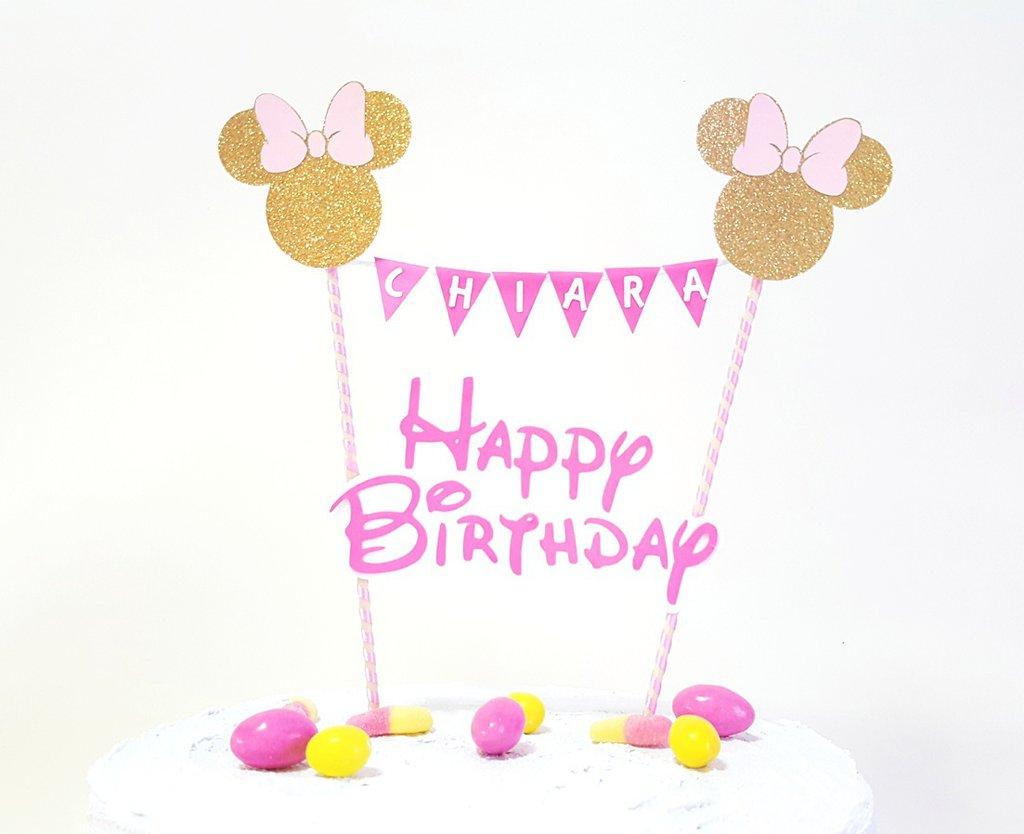 Minnie Topolina cake topper Buon Compleanno // happy birthday cake topper orsarese e oro glitterato personalizzabile