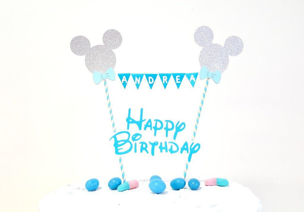 Cake topper Topolino buon compleanno // happy birthday Mickey mouse cake topper blu personalizzabile bimbo