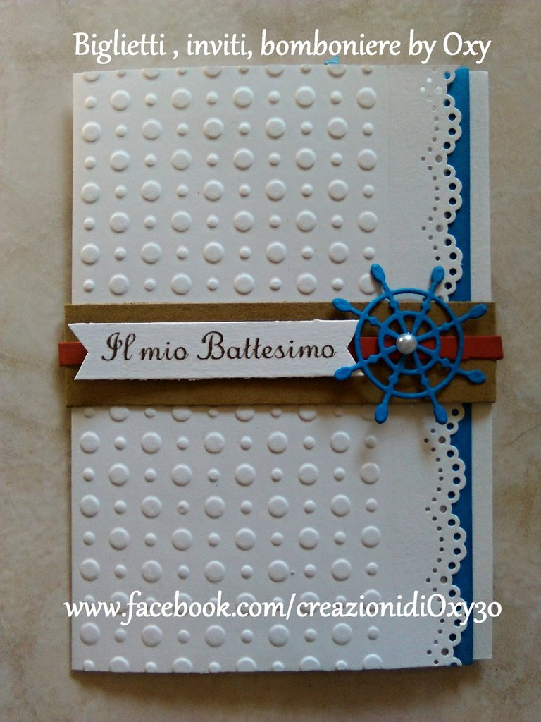 Invito / Battesimo / Comunione / Cresima / Compleanno / Mare, Timone, àncora