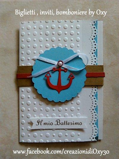 Invito / Battesimo / Comunione / Cresima / Mare, Timone, àncora