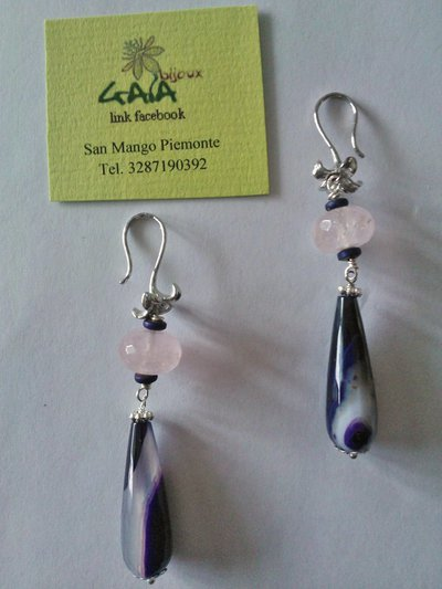 Orecchini con cipolletta in quarzo rosa e goccia in agata viola