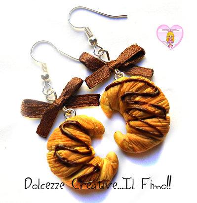 Orecchini Cornetto - Croissant al cioccolato con fiocchetti - miniature handmade