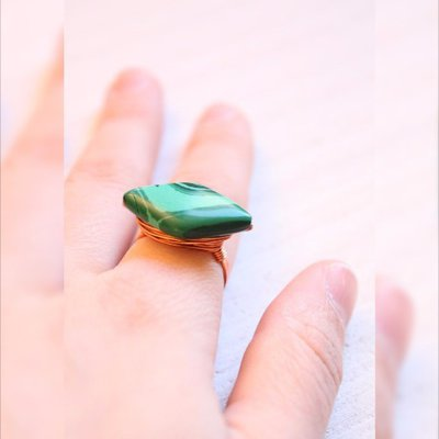 Geometrico Anello, verde malachite anello, semplice