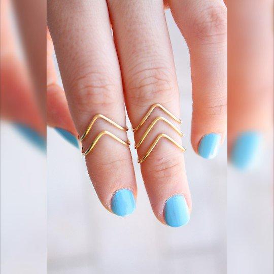 Set 5 anelli nocca, oro e ottone