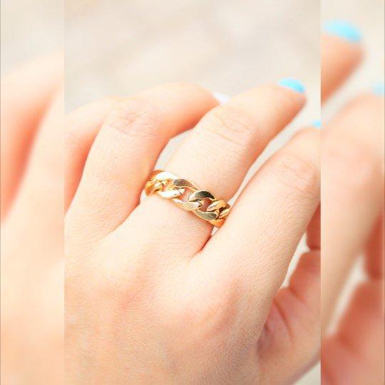 Anello catena d'oro - catena d'oro anello dell'articolazione - Oro
