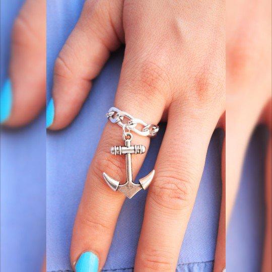 Argento anello di ancoraggio, Ancora Gioielli