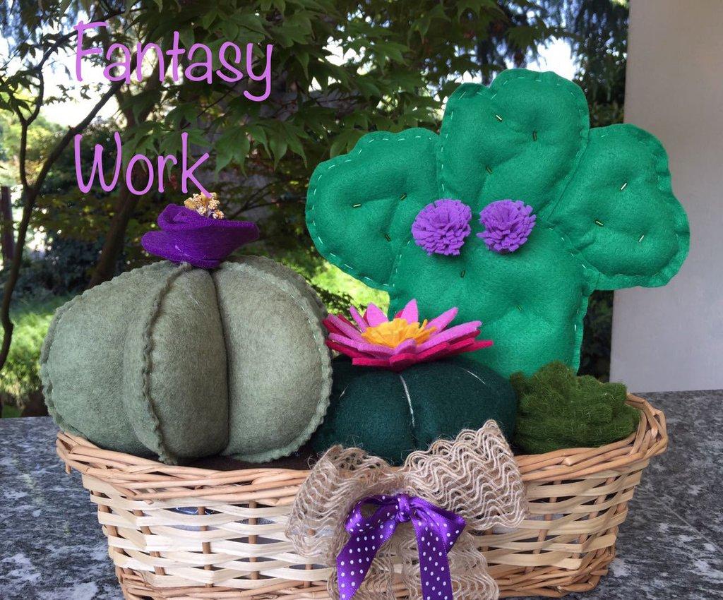 Composizione di quattro cactus con fiori viola e rosa
