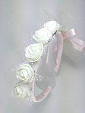 cerchietto bambina bimba cerimonia corona coroncina comunione battesimo cresima occasione elegante damigella matrimonio capelli.