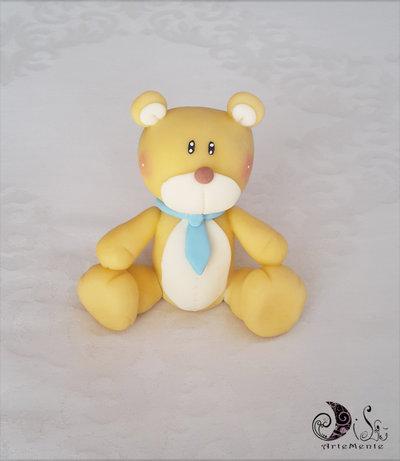 cake topper orsetto con cravatta per bimbo decorazione per torta personalizzabile battesimo e compleanno