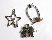 3 Pendenti in argento tibetano  CIO95-146-stella