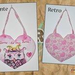 """Cuore """"Welcome"""" rosa con gufo"""