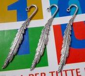 3 moduli segnalibri 'Piuma' argento tibetano