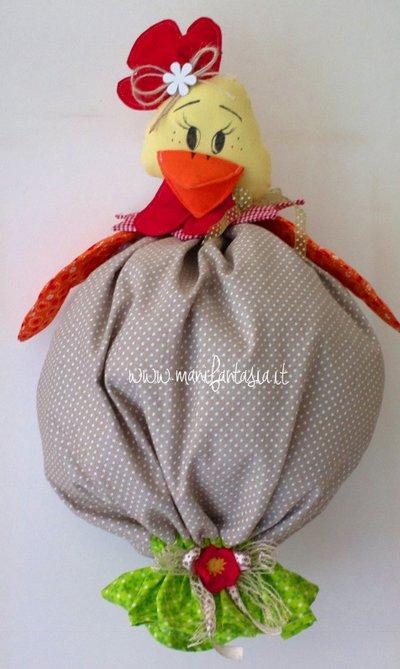 portasacchetti country a forma di gallina felice