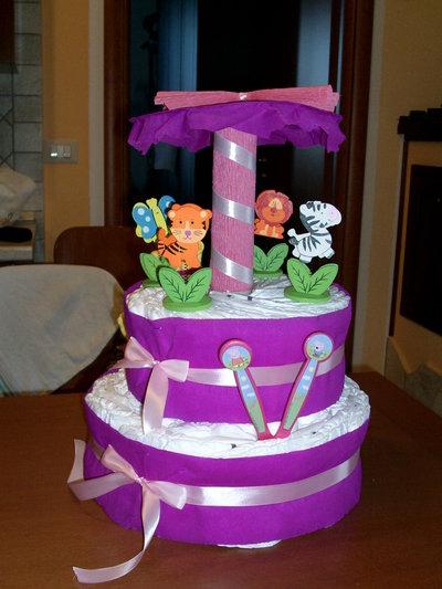 TORTA DI PANNOLINI - GIOSTRA DI PANNOLINI - DIAPERS CAKES - GIOSTRINA DI PANNOLINI