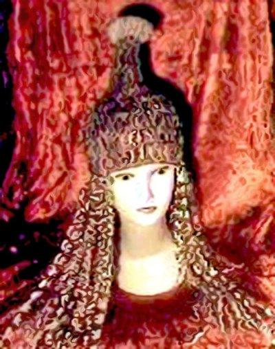 cappello ANANAS con ciocche di capelli finti