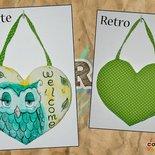 """Cuore """"Welcome"""" verde con gufo"""