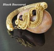 Bracciale in Maglia Vichinga e Centrale WIRE wrapped in OTTONE con perle di cristallo