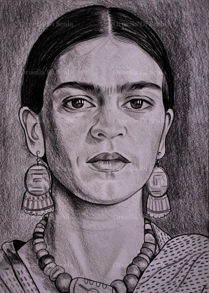 Ritratto a matita della pittrice Frida Kahlo disegnato a mano
