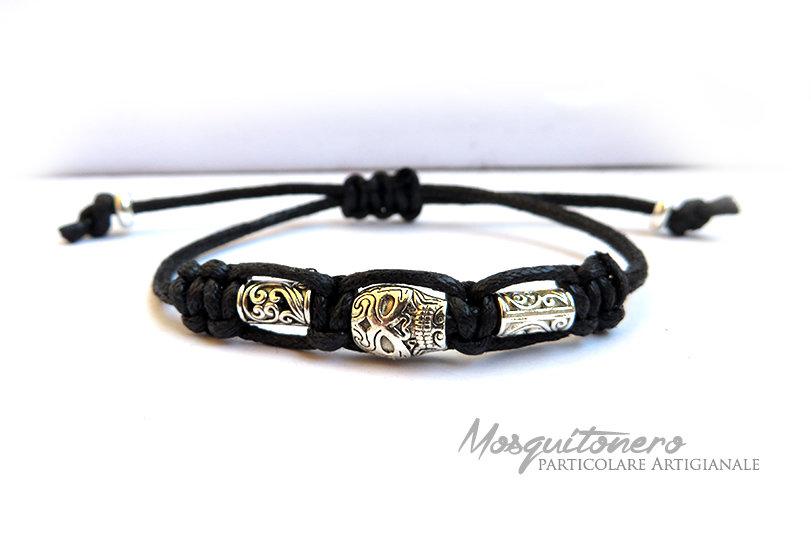 Bracciale da uomo o donna con teschio messicano Skull Bracelet