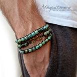 Bracciale uomo infinito con perle in pietra Turchese Africano, bracciale pallini ,bracciale sfere, per lui stile etnico avvolgente