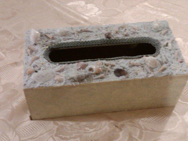 scatola porta salviette  con conchiglie