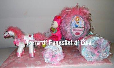 Torta di Pannolini Pampers CARROZZA CENERENTOLA + nome idea regalo nascita battesimo
