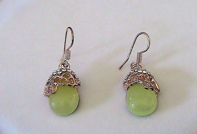 Orecchini con vero opale verde pietra dura naturale e zirconi