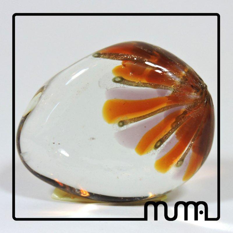 Fermacarte in vetro di Murano, forma uovo, trasparente e avventurina, fatto a mano in forance veneziana