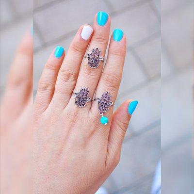 Hamsa Ring - Hamsa anello d'argento - Mano di Fatima