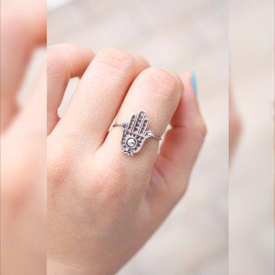 Mano di Fatima Anelli - Hamsa anello d'argento - a mano